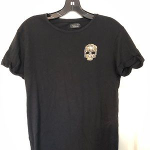 Men's Zara Black Sequin Skull Tee Shirt Small